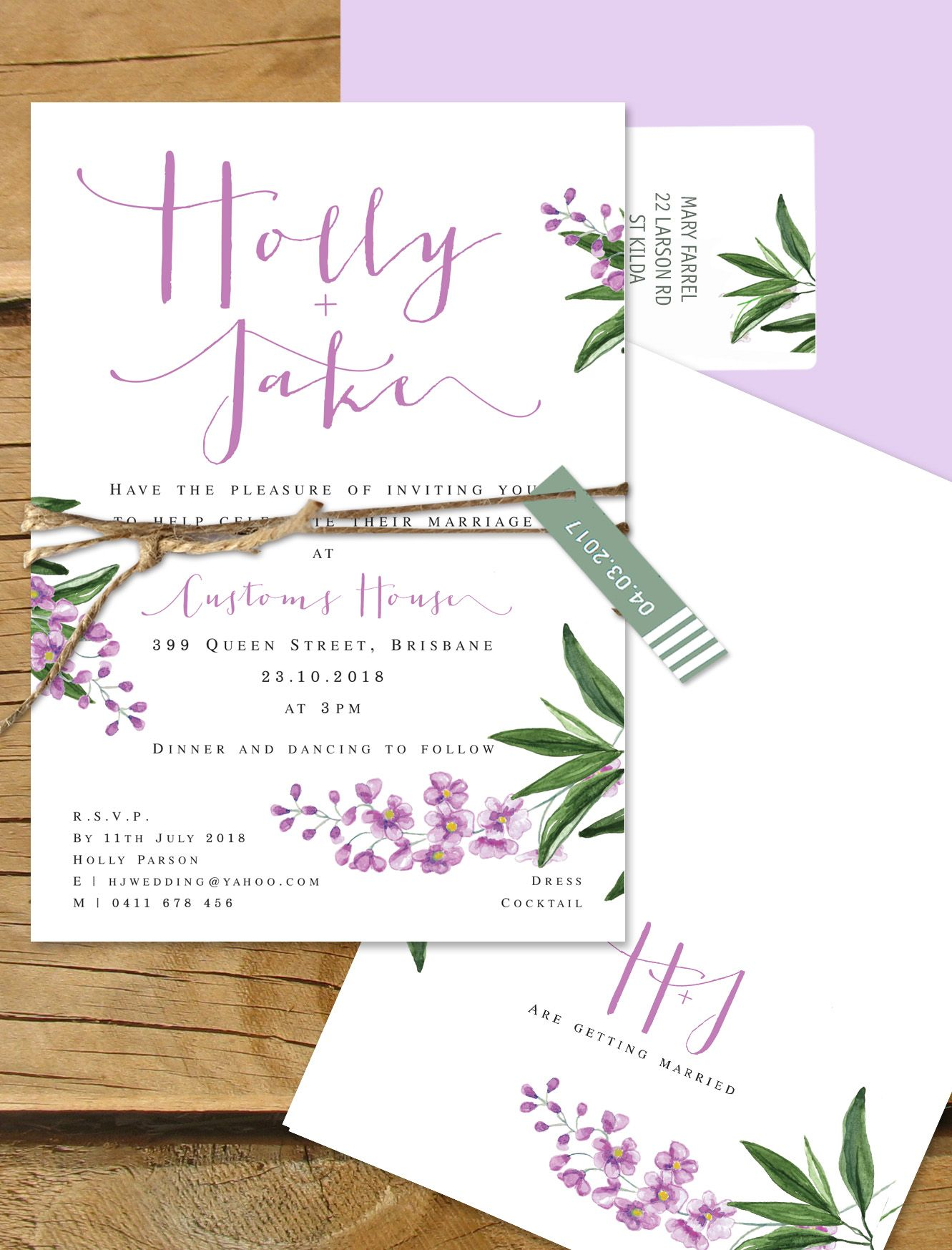 Lilac floral wedding invitation. Paris in the springtime.   Lilykiss ...