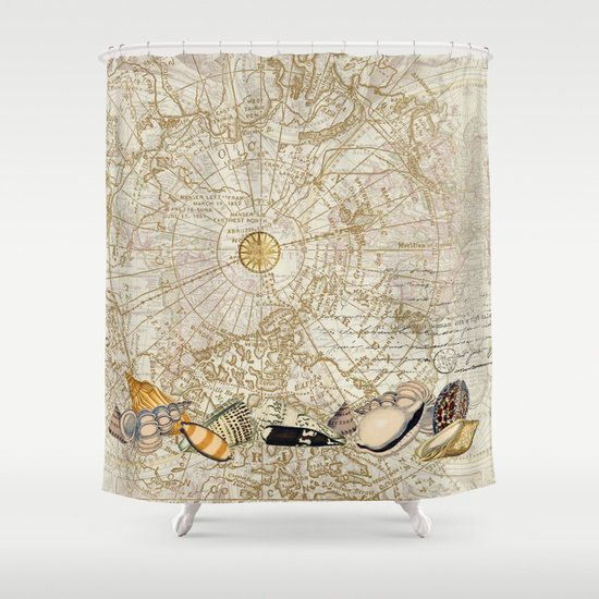The Perfect Shower Curtain For Your Coastal Or Travel Themed Bath Imagine Traveling Coasts Of World And Picking Up These Glorious Seashells