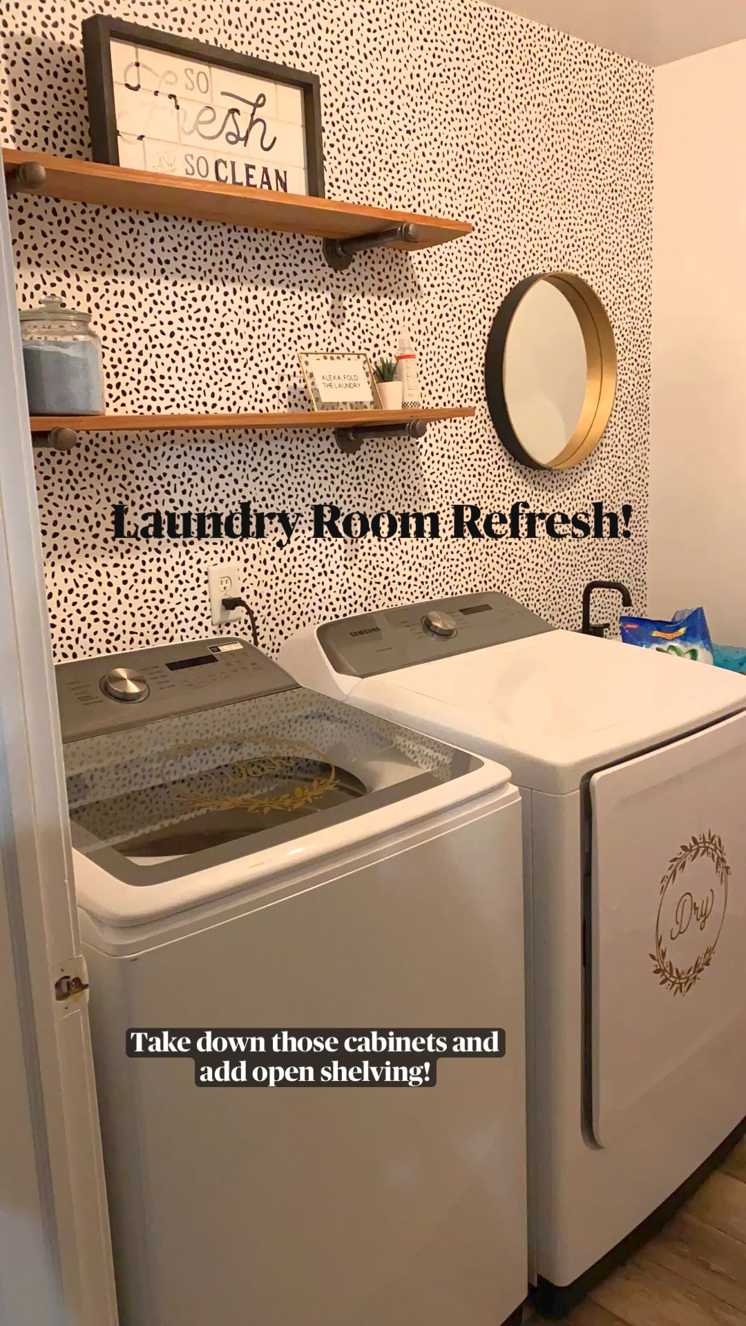 Laundry Room Makeover using removable wallpaper and open shelving