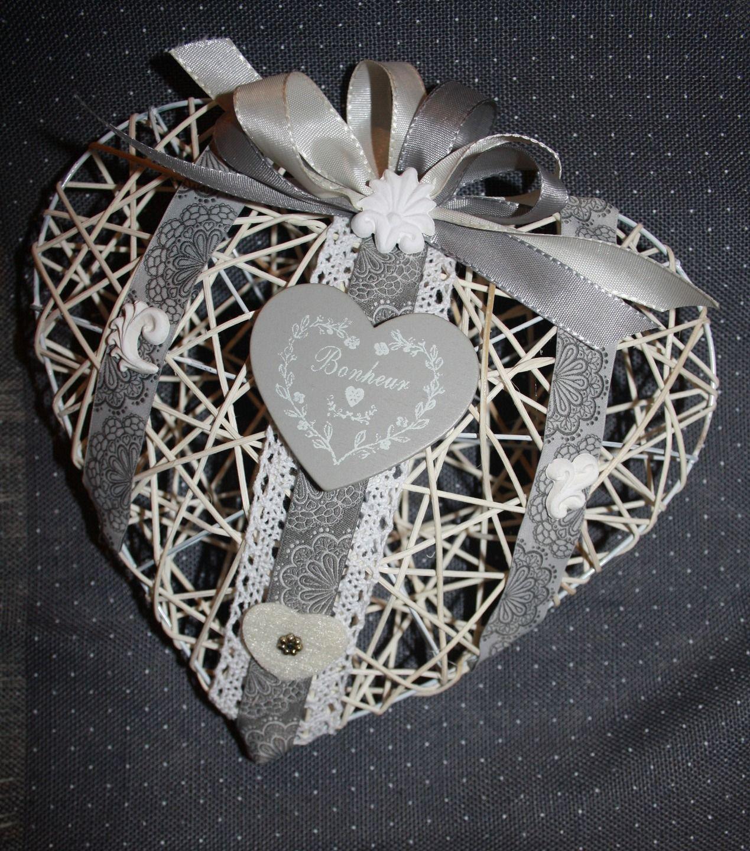 Suspention coeur en osier blanc decoratif d corations murales par la cage a deco mariage - Coeur en osier ...