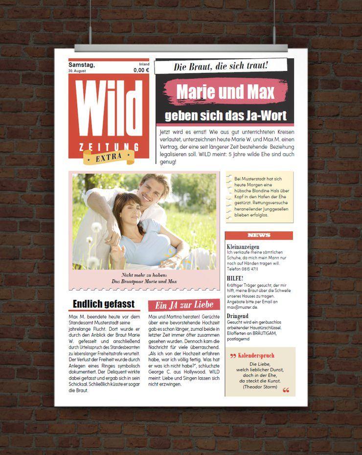 Drucke Selbst Vorlage Hochzeitszeitung Im Zeitungsstil Hochzeitszeitung Hochzeitszeitung Ideen Hochzeitsvorlagen