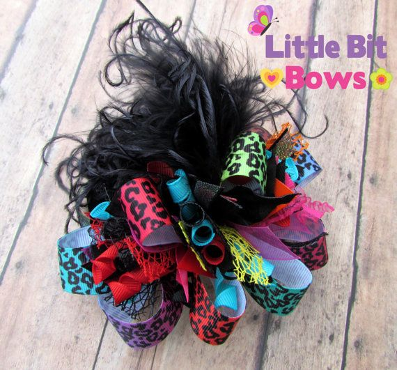 Rainbow Leopard Boutique Funky Bow with Ostrich by LittleBitBows