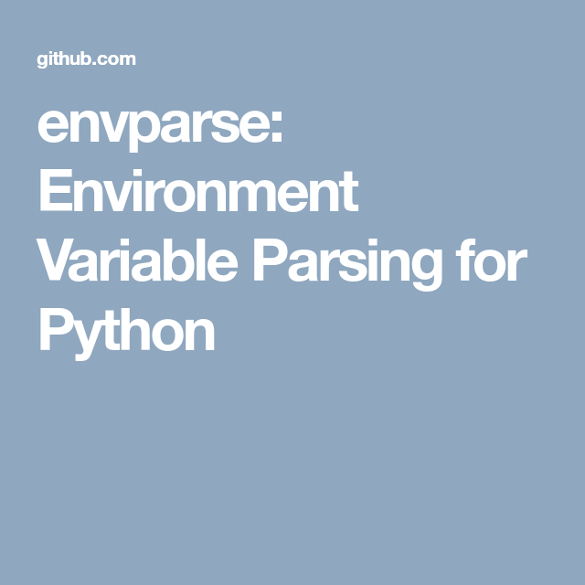 envparse  environment variable parsing for python