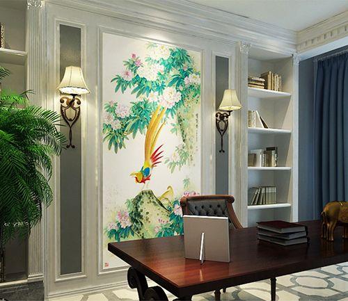 papier peint asiatique format portrait le faisant et les fleurs papier peint d 39 artiste. Black Bedroom Furniture Sets. Home Design Ideas