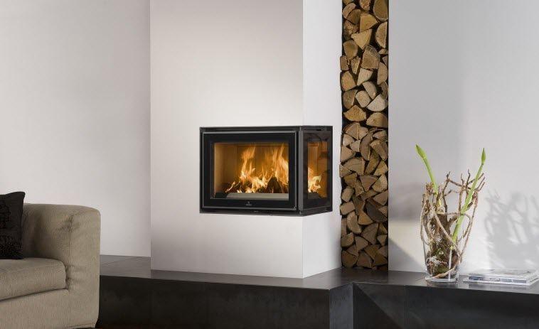 Wood Burning Corner Fireplace Insert Unilux 3 200 Barbas Home