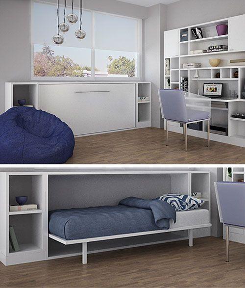 Cersis cama rebatible minbai espacios peque os pinterest tiny living murphy bed and - Camas rebatibles ...