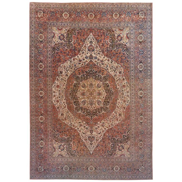 Antique Persian Tabriz Hadji Jalili Oriental Carpet In Large Size W Medallion In 2020 Modern Persian Rug Rugs On Carpet Oriental Carpets