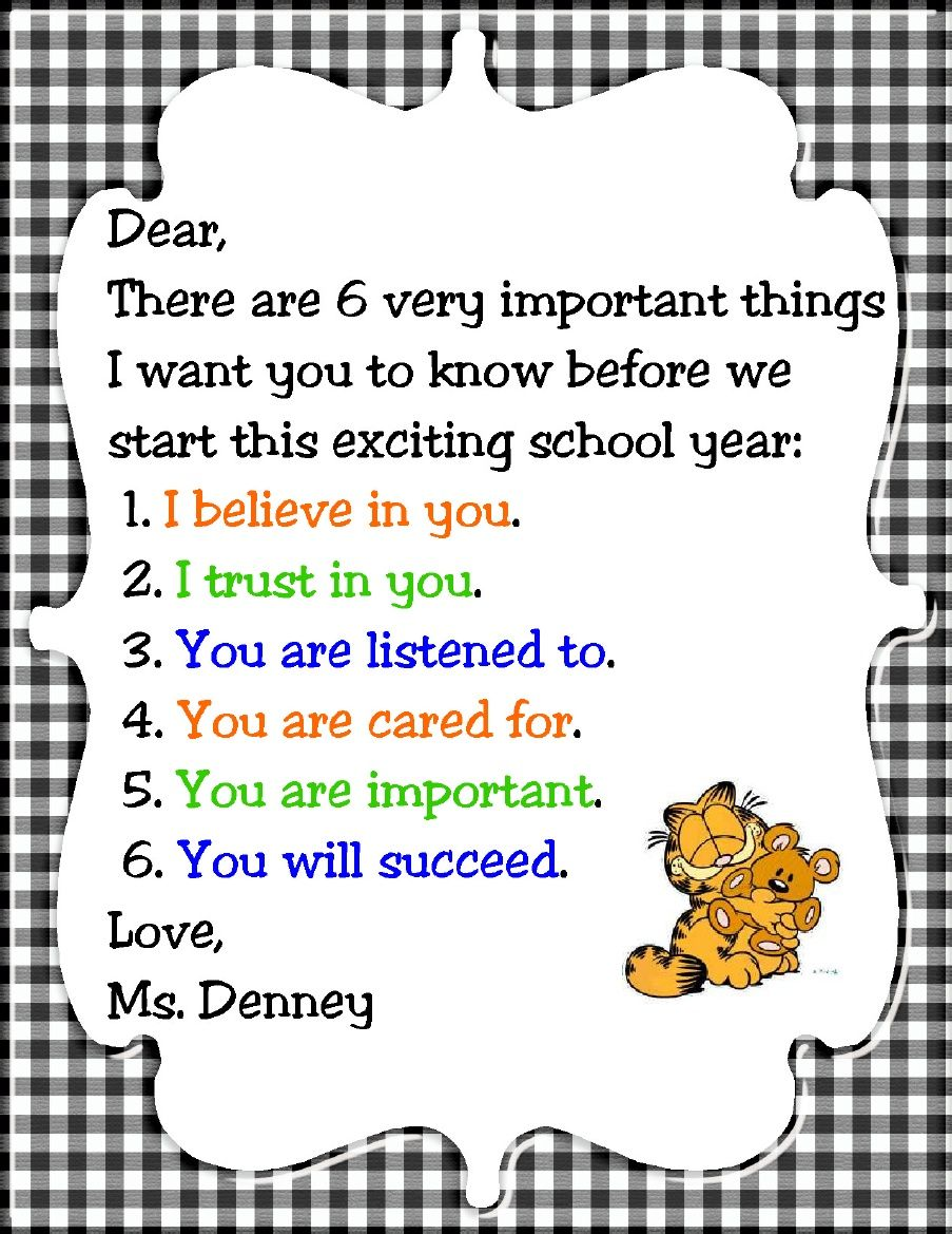 Letter to students before the first day of school | Letter ...