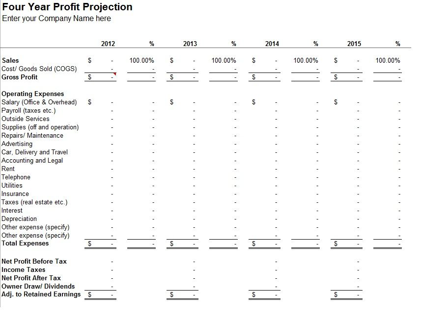 Yearly Profit Projection Template Sample business Pinterest - basic accounting spreadsheet for small business