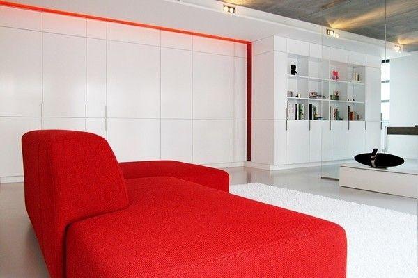 Diseno Minimalista Salon Rojo Y Blanco Proyectos Que Intentar - Salones-diseo-minimalista