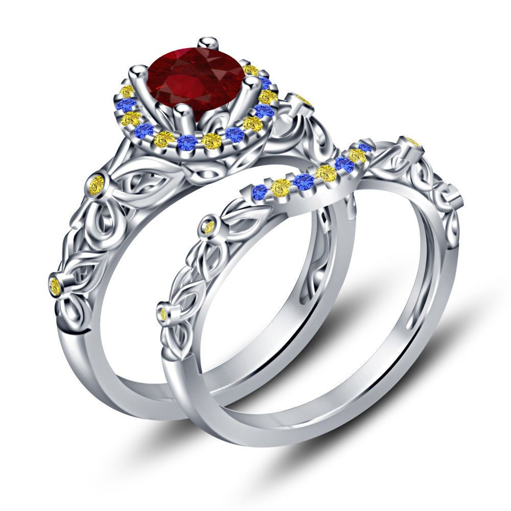 ebay wedding rings sets Platinum Over Silver Multicolor CZ Princess Snow White Engagement Ring Set 5
