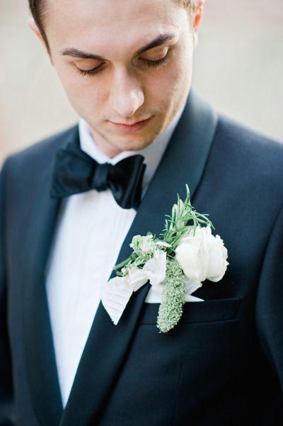 Gorgeous boutonniere: http://www.stylemepretty.com/2015/04/27/elegant-english-ballroom-wedding/   Photography: Dominique Bader - http://www.dominiquebader.com/