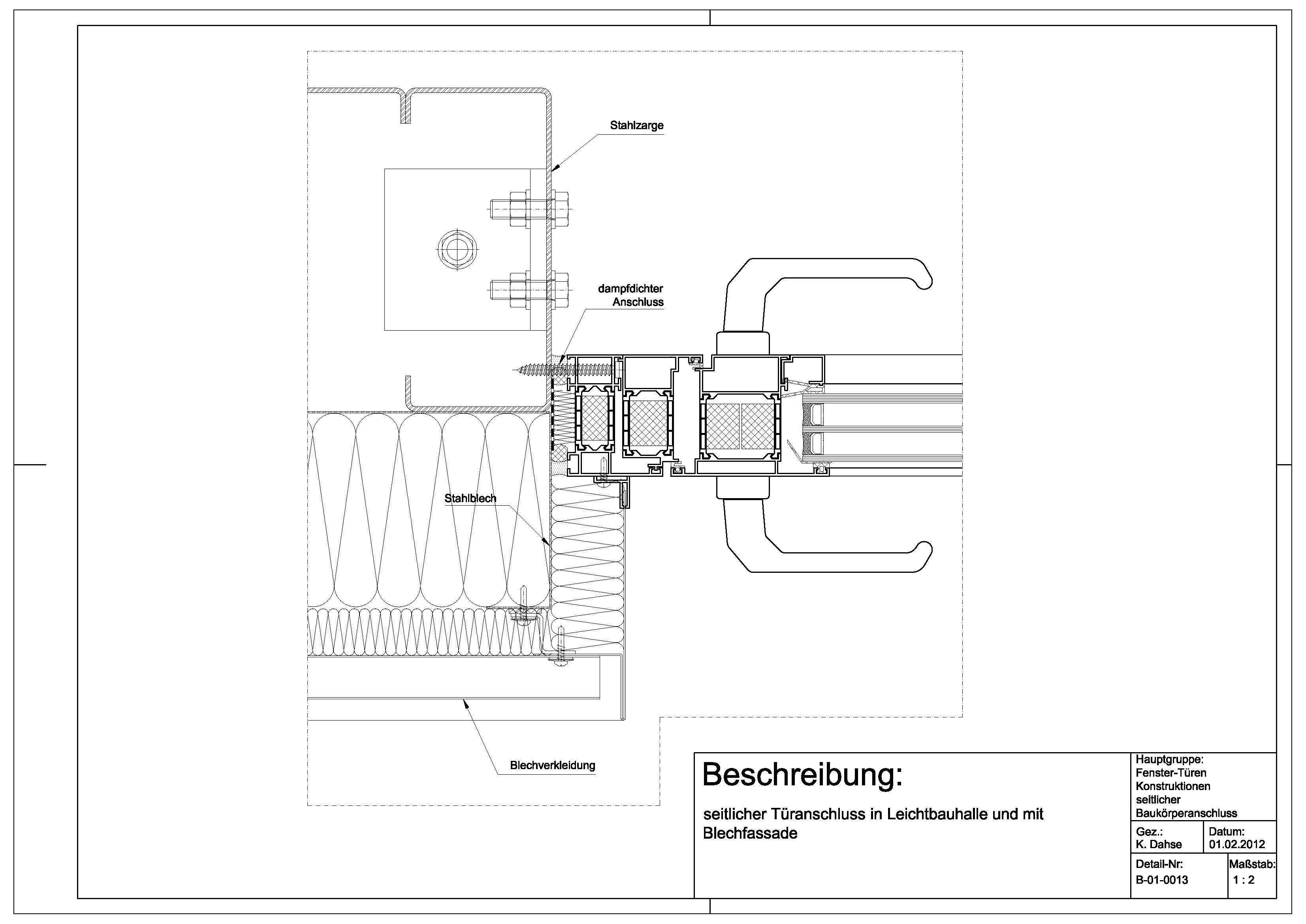 Tür detail anschluss  B-01-0013 Türanschluss in Leichtbauhalle und an Blechfassade ...