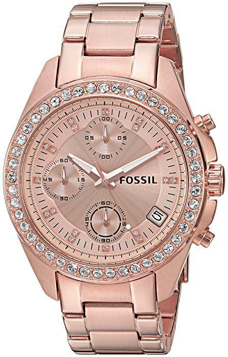 Fossil Womens ES3352 Decker Chronograph Rose Gold-Tone