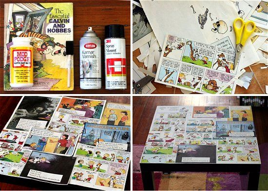 diy comic book desk. Thrifted Table DIY: Comic Book Decoupage Coffee - Calvin \u0026 Hobbes! Diy Desk