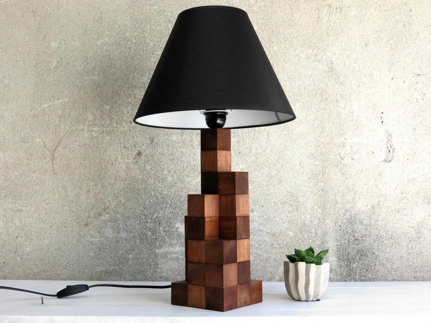 Industrial Style Lamp Industrial Design Wooden Lamp Tall Wood