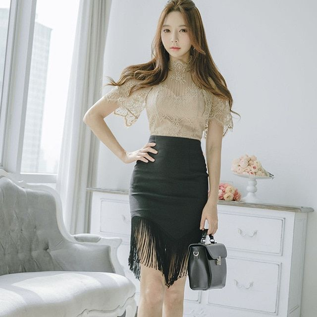 2ed4a23dda1f9c Women Two Piece Sets Slim Lace Top Package Hip Tassel Skirts Elegant Korean  Sexy Office Party