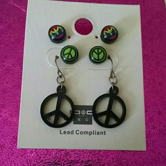 Download 3 peice peace sign earings | Peace sign, Things to sell ...