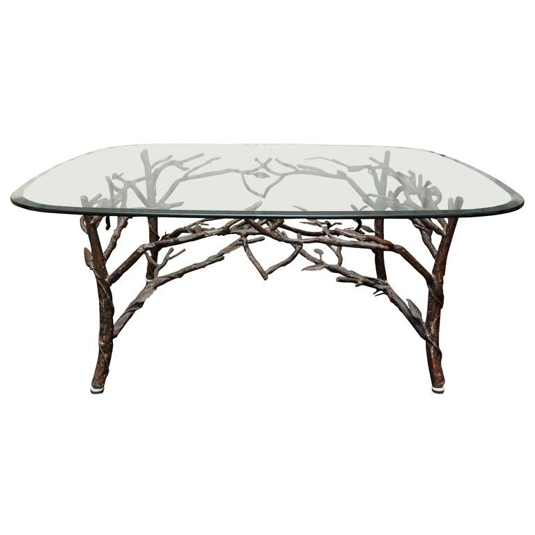 Captivating Glass Top Coffee Table With Tree Leg Base