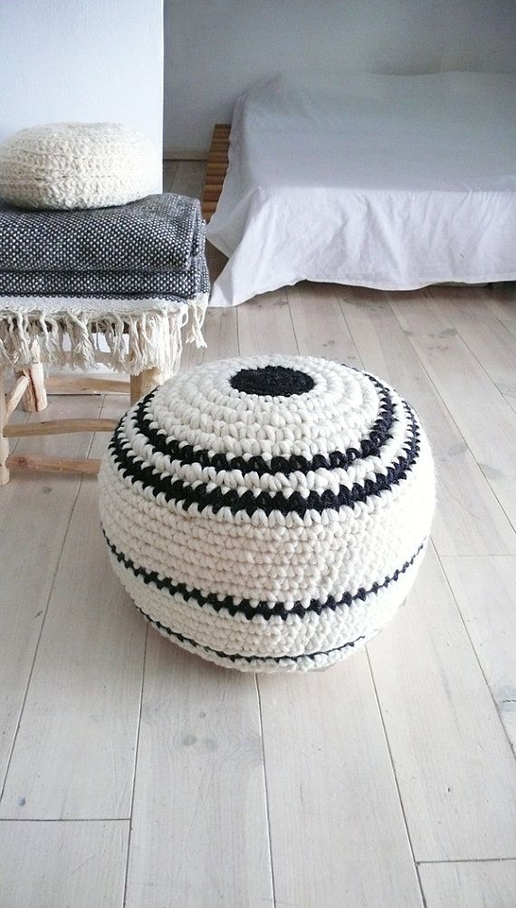 Crochet pouf thick wool - Natural undyed and stripes black | Home ...