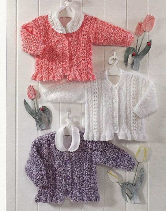 554bb8f9c582 vintage knitting pattern for frilly edge cardigans age 0 to 6 yrs 16 ...