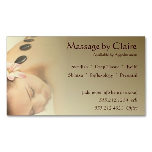 Massage therapist business card massage pinterest business massage therapist business card fbccfo Images