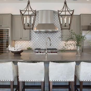 nice Gray Kitchen Cabinets with White Fan Tile Backsplash by