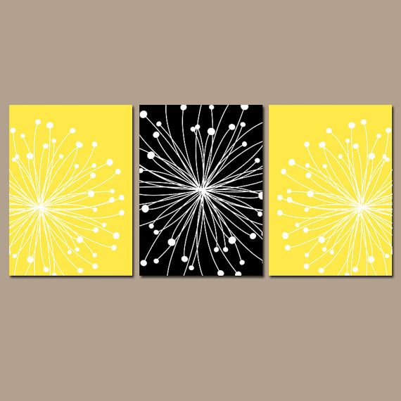 DANDELION Wall Art - CANVAS or Prints Black YELLOW Bedroom Pictures ...