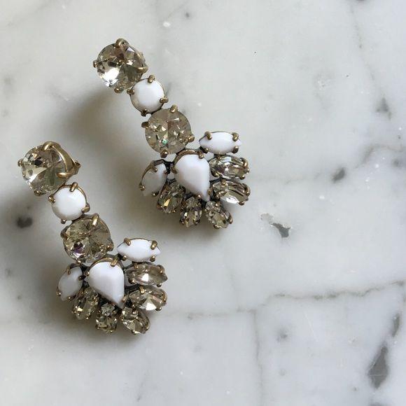 J Crew Crystal + Bead Earrings Never Worn with Original Bag • Crystal + White Bead Earrings • Post Earrings J. Crew Jewelry Earrings
