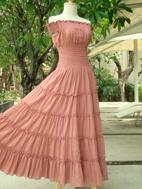 Romantic Dress Peach Maxi Dress - Off The Shoulder Maxi Dress / Long Cotton Dress / Long Beach Dress - 'Sweet Summer II'. $57.00, via Etsy.