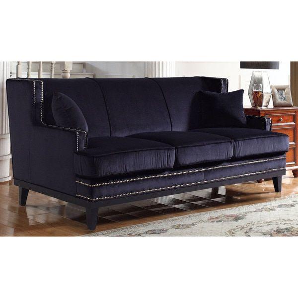 Modern Nailhead Sofa: Modern Soft Velvet Sofa With Nailhead Trim Details