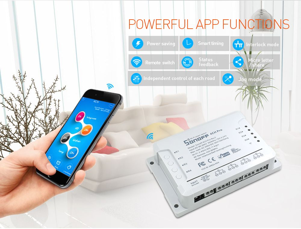 Very Cool !Sonoff 4CH Pro R2 4 Channel WiFi RF Smart ON/OFF