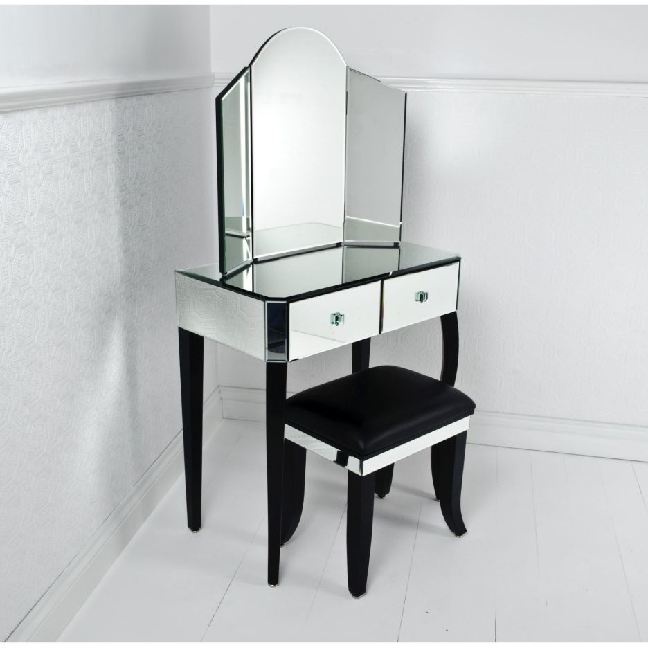 Mirror Vanity Dresser With Black Wooden Pedestal And Black Wooden