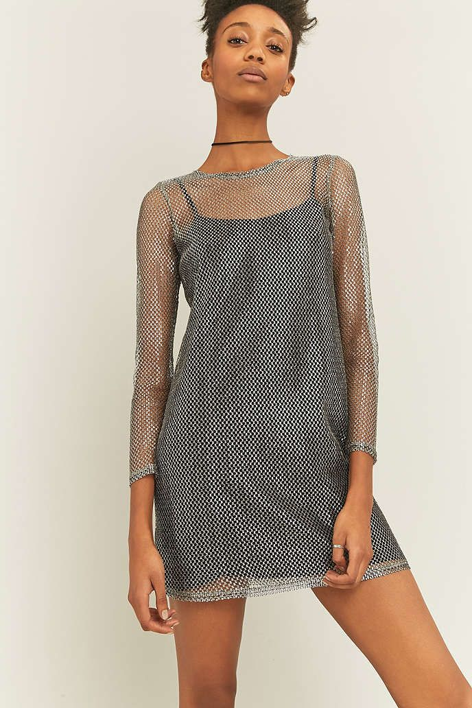 Sparkle   Fade Chainmail Long Sleeve Silver Dress - Urban Outfitters 0d00c8177