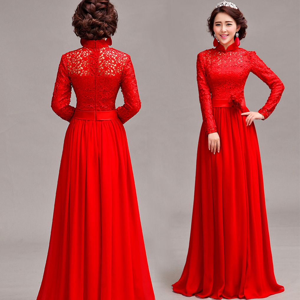 Gown with sleeves google search gowns pinterest for Red wedding dresses with sleeves