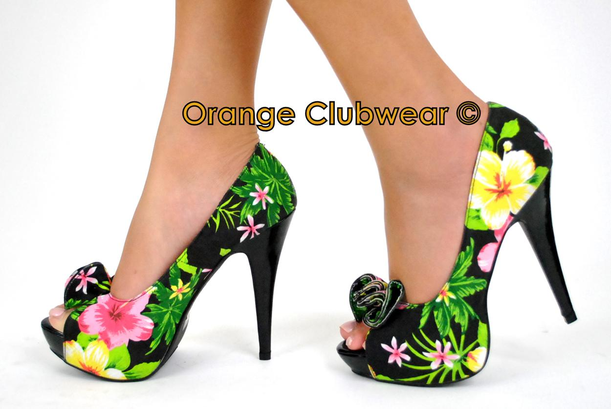 09aa55c73a3 Pinup Lolita 11 Womens Platform Floral Print High Heels Sexy Hawaii Style  Shoes