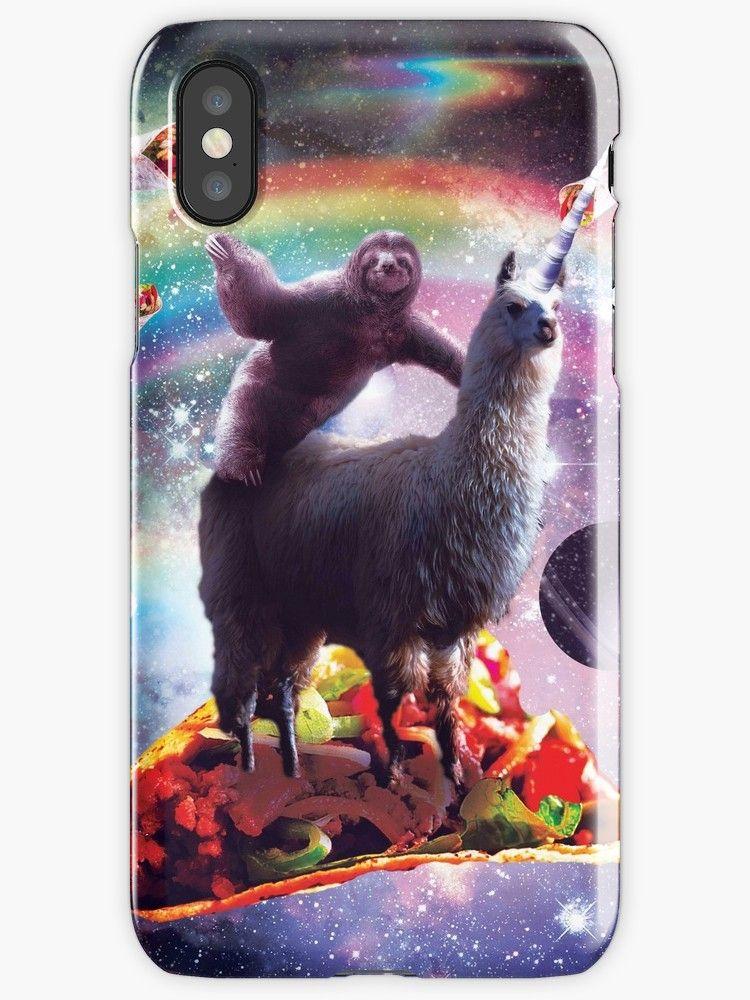 Space sloth riding llama unicorn taco burrito iphone