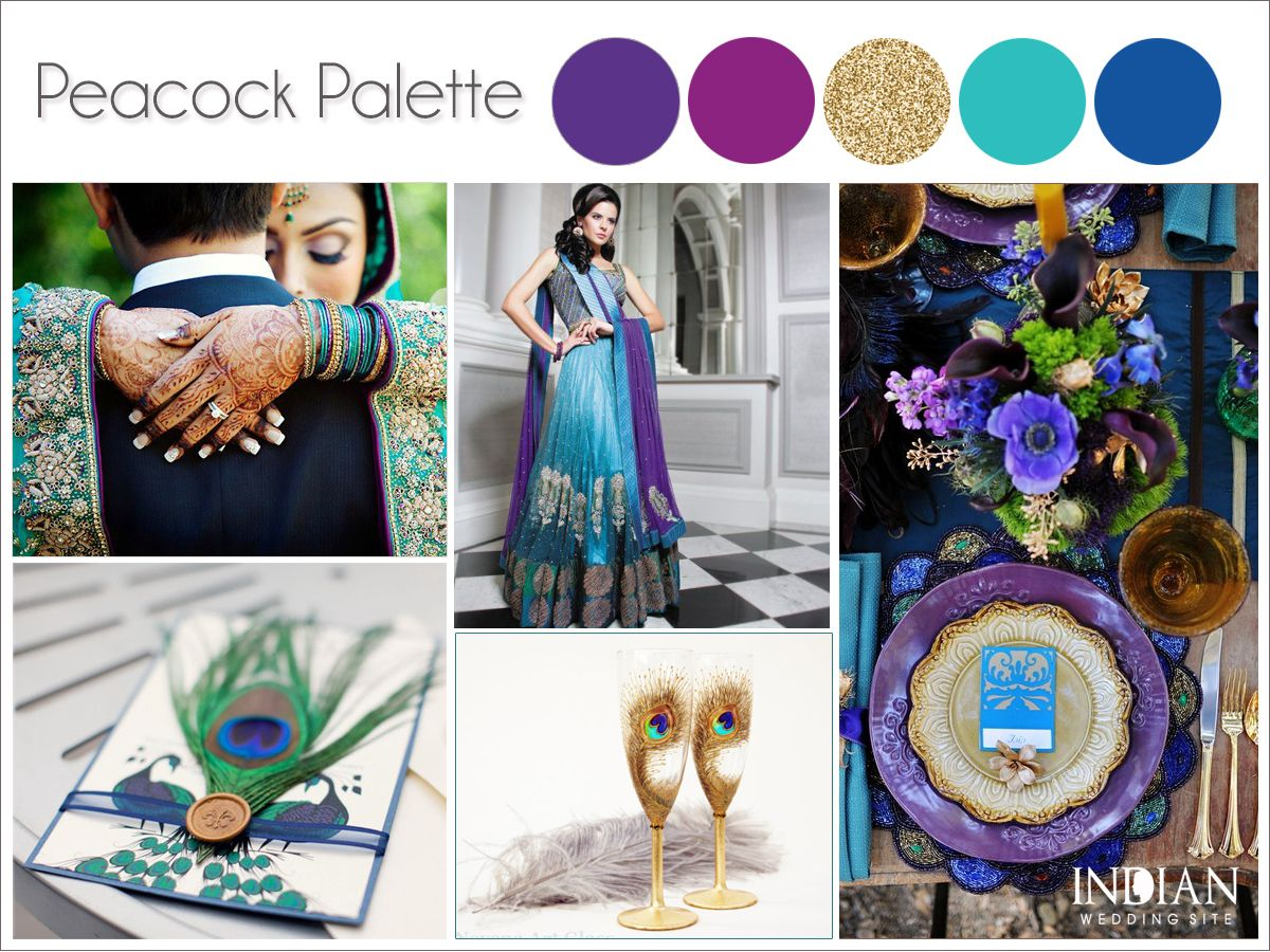 Peacock indian wedding color palette adding little for Wedding color scheme ideas