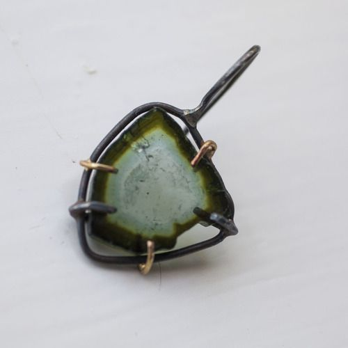 Window Earrings www.varianceobjects.com from $136.00 Oxidized silver and 14k gold  Available in:  Green Tourmaline Quartz