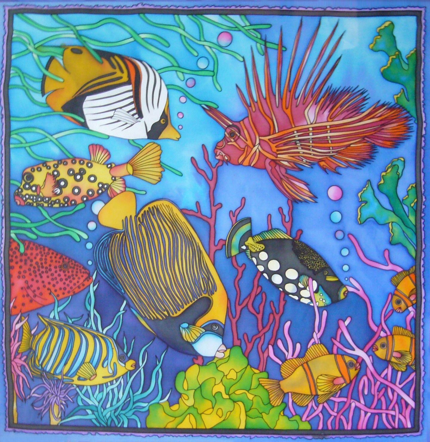 Aquarium Tableau En Peinture Sur Soie Peintures De Poissons