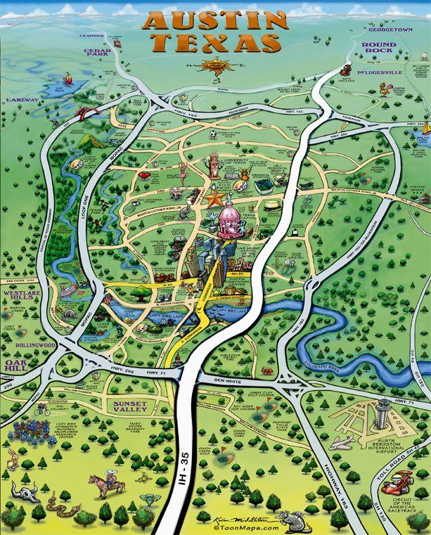 Road Map Of Austin Texas.Austin Texas Cartoon Map Texas Love Austin Map Austin Texas