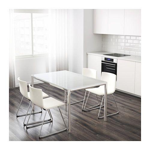 TORSBY Tisch, verchromt, Glas weiß - kleiner k chentisch mit 2 st hlen