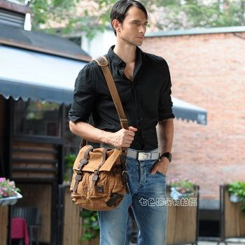 Vintage leather and canvas messenger bags mens from Vintage rugged ...
