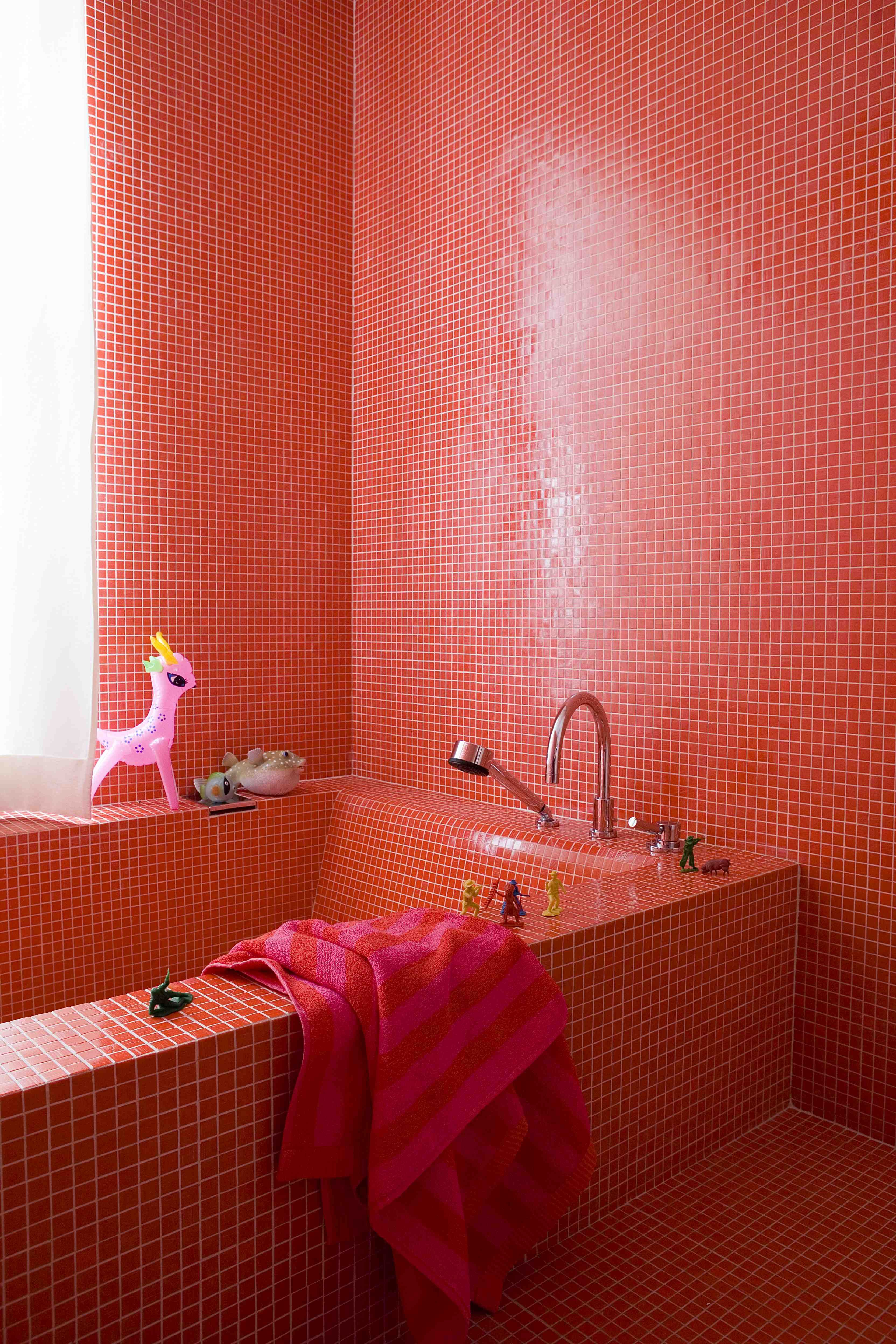 Totally Red Tiled Bathroom Bathroom Red Yellow Bathroom Decor