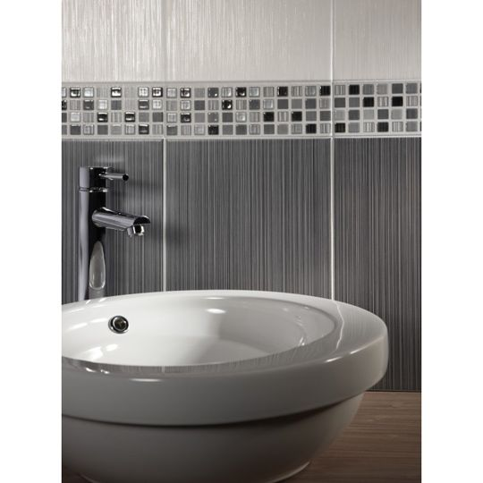 25x40cm Willow Dark Grey Wall Tile By BCT Grey Tiles Gray