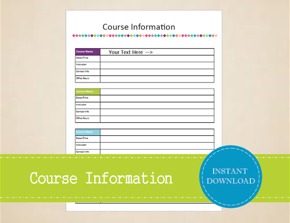 course information student planner college planner printable