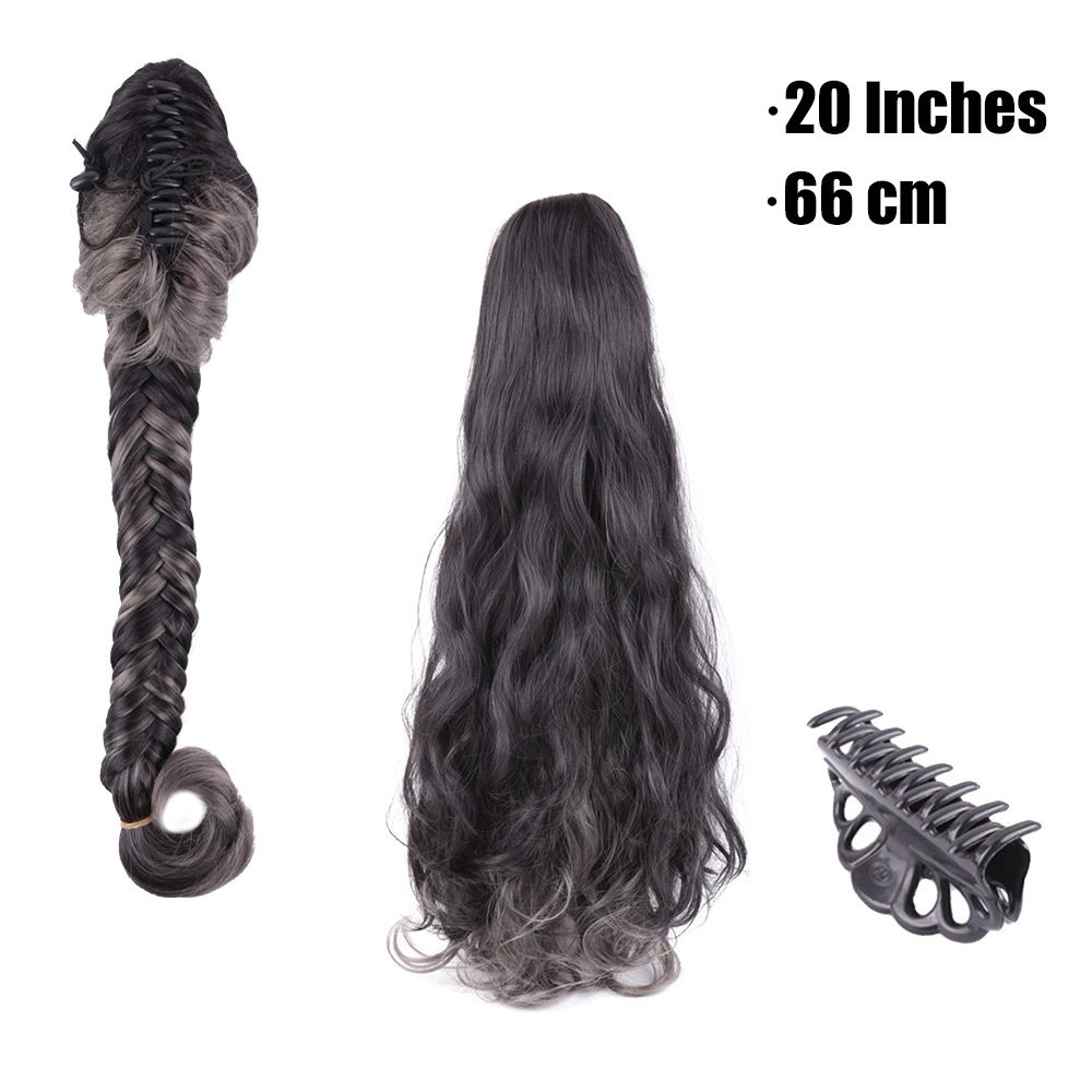 accd4710a12 Find More Ponytails Information about Black mixed grey color ...