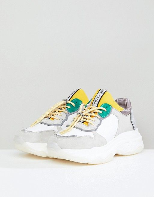 f7fb9ea72 Bronx | Bronx Yellow & Green Suede Chunky Sneakers | SSShoe ...