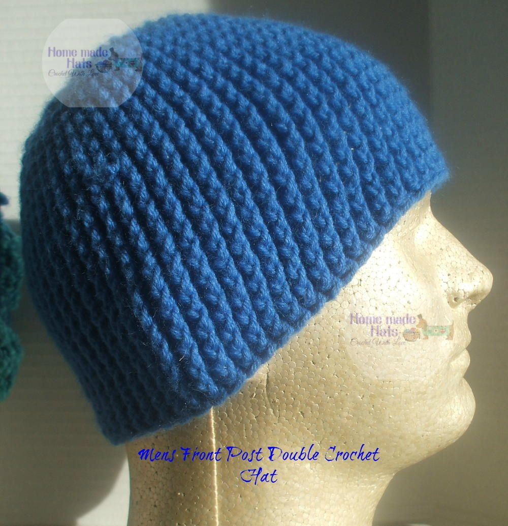 Mens Front Post Double Crochet Beanie | Free crochet hat patterns ...