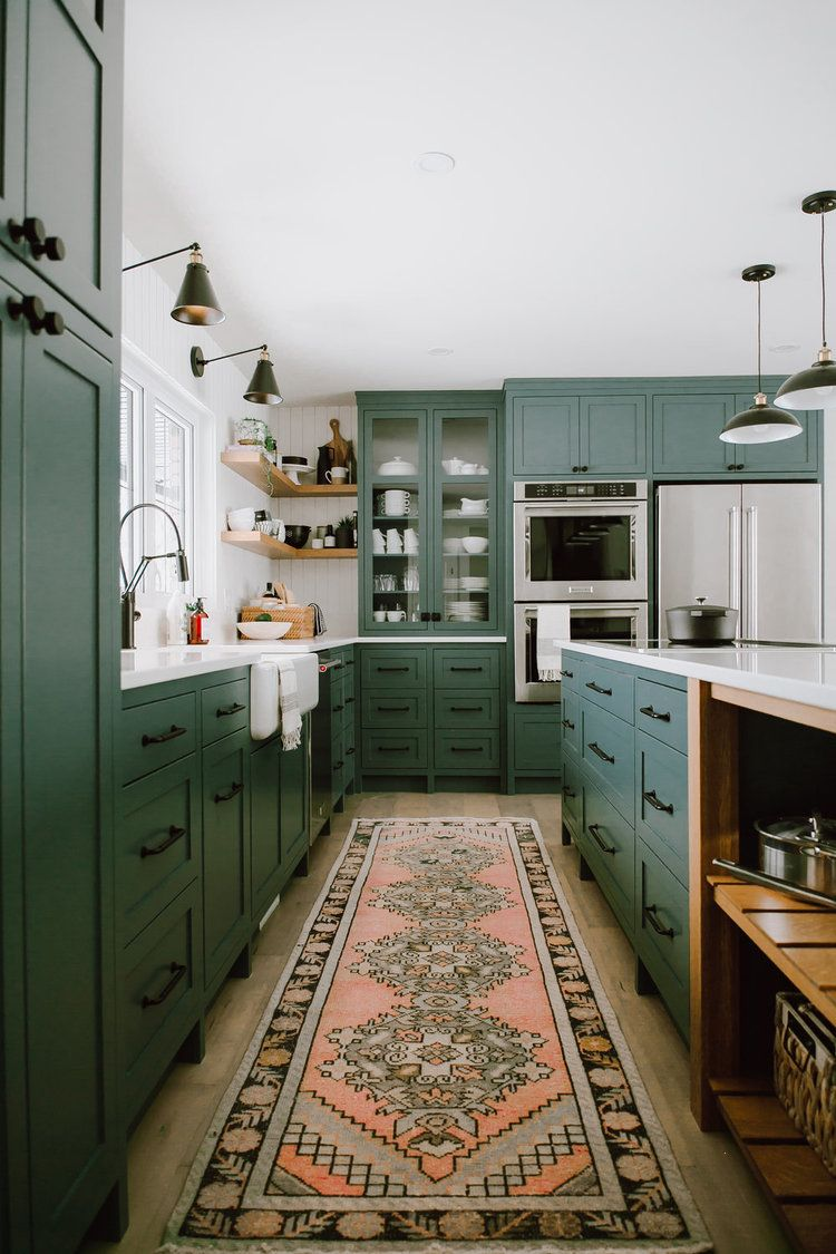 Pros And Cons Of Open Shelving In The Kitchen In 2020 Green Cabinets Kitchen Cabinets Green Kitchen